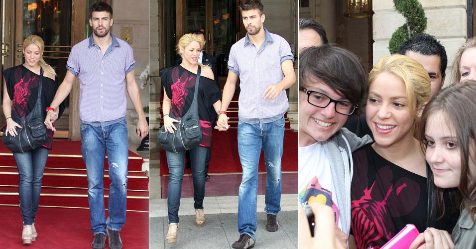 A cantora Shakira e o namorado Gerard Piqué, jogador do Barcelona, deixam hotel em Paris, na França. Shakira também atende alguns fãs que estavam no local. A cantora fez show segunda (13) e terça-feira (14) na capital francesa (15/6/2011)