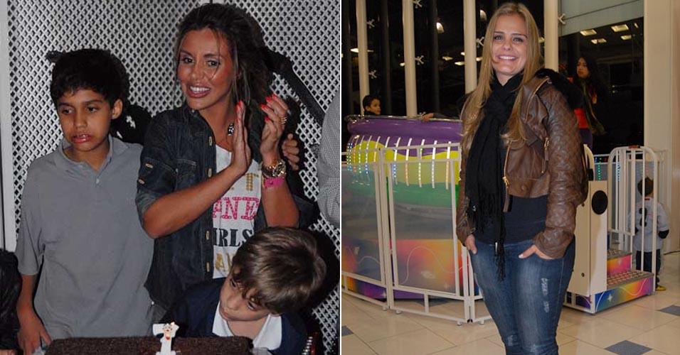 Renata Banhara comemora o aniversário do filho Breno de 7 anos em São Paulo. Milene Domingues também esteve na festa. Frank Aguiar, pai do garoto, não esteve na comemoração (28/6)