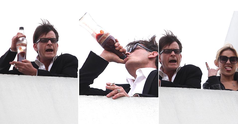 Envolvido em diversos escândalos, o ator Charlie Sheen, reagiu de maneira inusitada à sua demissão da série 'Two And a Half Men'.Ele comemorou ao lado das atrizes pornôs numa aparição no prédio do escritório da empresa Live Nation, em Beverly Hills. Da cobertura do prédio, Sheen saudou os fãs (9/3/2011)