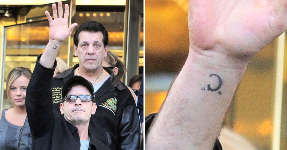 Charlie Sheen é fotografado a sair do hotel, em Nova York a caminho do próximo show. Atrás de Sheen estava o ator Chuck Zito e uma das suas namoradas Rachel Oberlin (à esq.). Charlie tem um 'C' tatuado no pulso. (11/4/2011)
