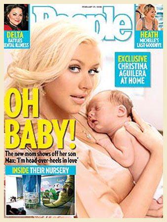 Christina Aguilera posou com Max Liron em sua própria casa. Depois de muita disputa entre as revistas