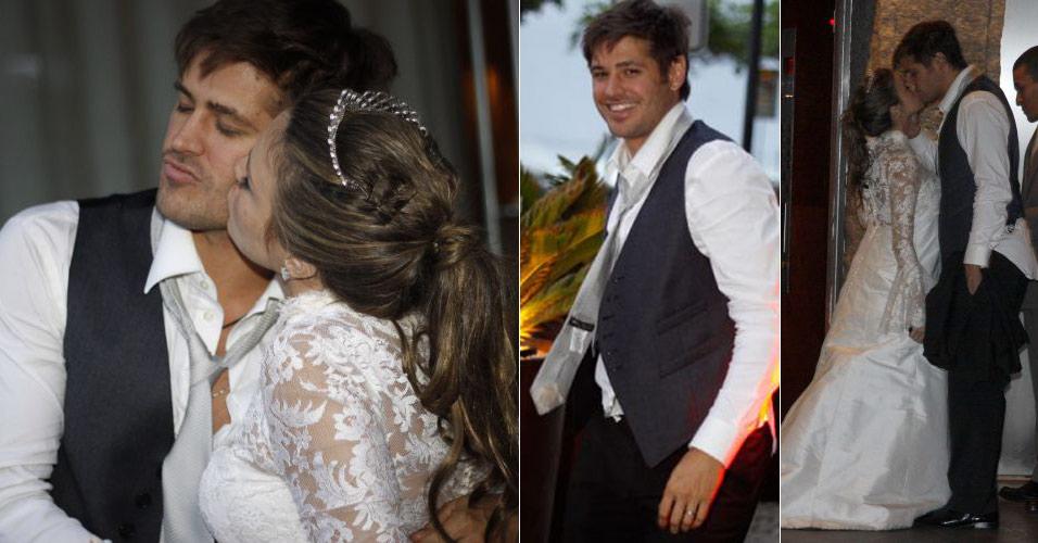 Dado Dolabella e Viviane Sarahyba se casam no Rio de Janeiro após nove meses de namoro (25/9/2009). A publicitária casou grávida de seis meses