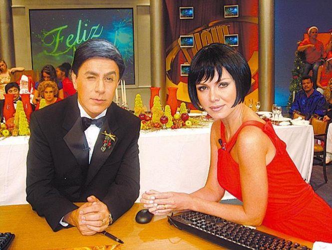 Tom Cavalcanti caracterizado como William Freitas e a apresentadora Eliana como Eliana Guenardes gravam o