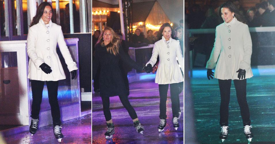 Pippa Middleton é fotografada patinando na festa de lançamento de uma pista de gelo em Londres (22/11)