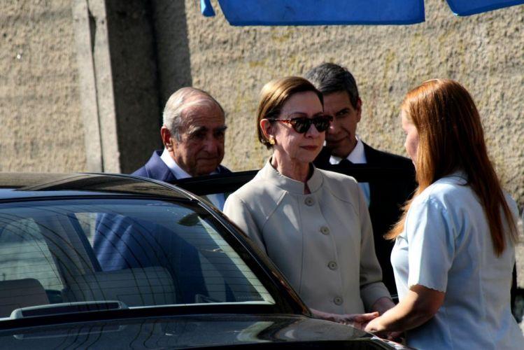 Fernanda Montenegro, Elias Gleiser e Debora Duboc durante gravação de