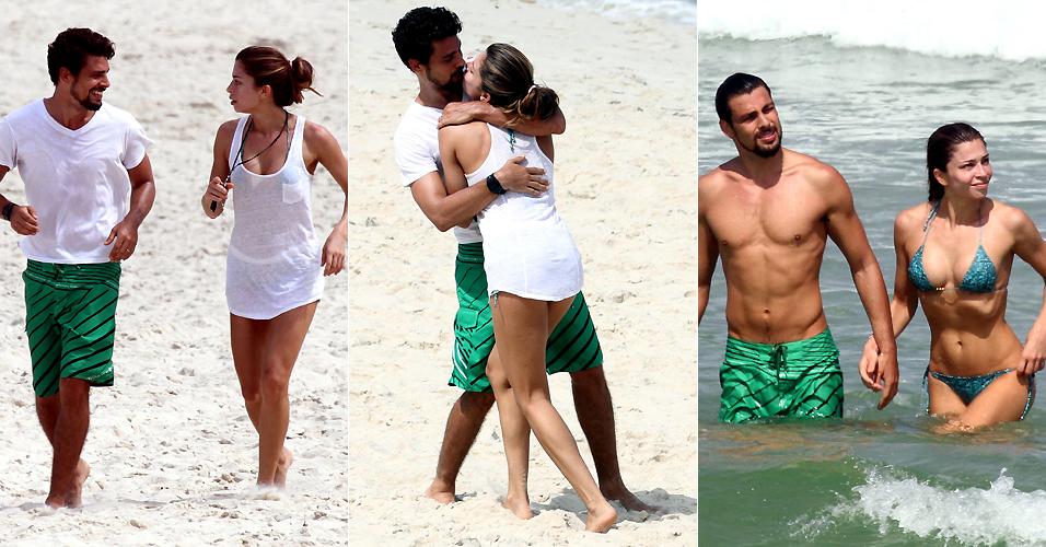 Cauã e Grazi se exercitam, namoram e tomam um banho de mar na Barra da Tijuca, Rio de Janeiro (19/4/2011)