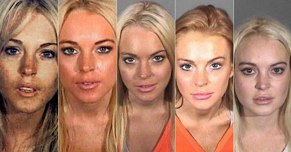 Lindsay Lohan já foi fichada cinco vezes. Na primeira (julho/2007) ela teve que cumprir uma pena de 90 dias de prisão por ter dirigido embriagada e posse de cocaína; Já na segunda (novembro/2007) ela teve que cumprir uma pena de 90 dias de prisão por violar a condicional pelas acusações de ter dirigido embriagada e posse de cocaína; Na terceira (julho/2010), a atriz voltou à prisão por violar os termos de sua condicional, ao falhar em um teste antidrogas ordenado pela Justiça; Na quarta (setembro/2010), Lindsay foi presa após furtar um colar; Na quinta (outubro/2011) teve sua condicional revogada por não cumprimr o serviço comunitário, após ter sido condenada por furtar um colar no início do ano