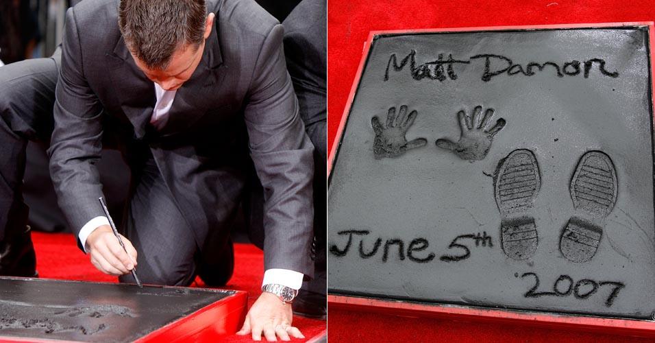 Matt Damon escreve seu nome no Grauman's Chinese Theatre em Hollywood (5/6/2007)