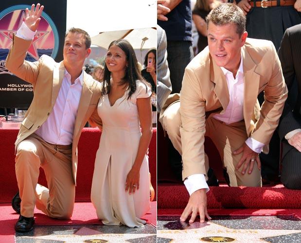 Matt Damon ganha uma estrela na calçada da fama na presença da mulher Luciana Barroso em Hollywood (25/7/2007)