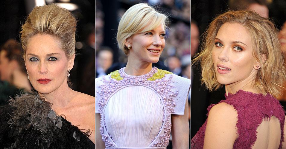 As atrizes Sharon Stone, Cate Blanchett e Scarlett Johansson no tapete vermelho do 83º Oscar (27/2/11)