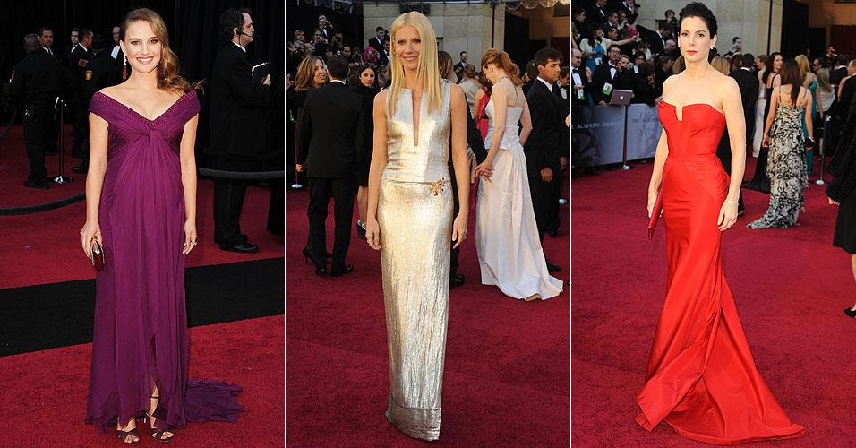 As atrizes Natalie Portman, Gwyneth Paltrow e Sandra Bullock chegam à cerimônia do Oscar, no Kodak Theatre (27/2/11)