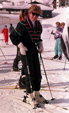 Diana esquia nos alpes da Áustria, em 1992
