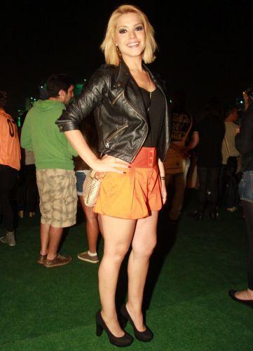 A atriz Thaís Fersoza assiste a shows do Rock In Rio na área VIP do evento (30/9/11)