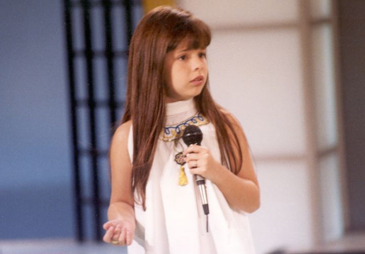 Sandy, quando tinha apenas oito anos, durante participação em um programa de TV (1991)