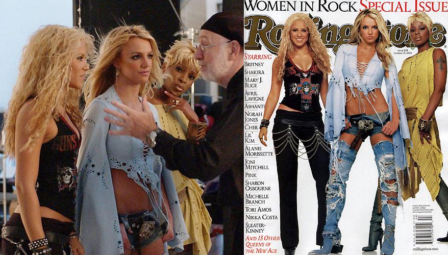 O fotógrafo Albert Watson prepara as cantoras Shakira (esq.), Britney Spears e Mary J.Blige para a foto da capa da edição de 35º anos da revista Rolling Stone, de outubro de 2002 (9/10/2002)