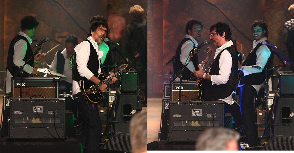O músico Lobão se apresenta durante o desfile da marca Reserva, no quarto dia do SPFW Inverno 2011 (31/1/2011). O cantor e sua banda tocaram acordes da clássica