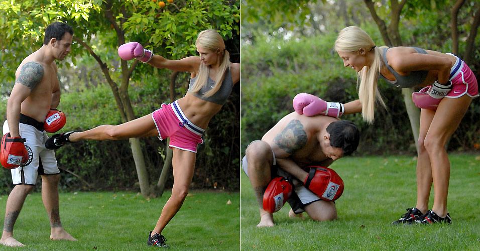 Paris Hilton acerta seu personal trainer no meio das pernas durante uma sessão de boxe (2010)