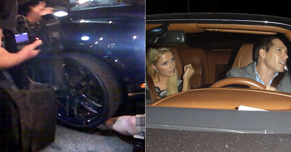 Cy Waits, namorado de Paris Hilton, atropela uma fotógrafa na saída de um restaurante em Los Angeles (29/9/2010). A moça machucou a perna e teve um machucado no queixo