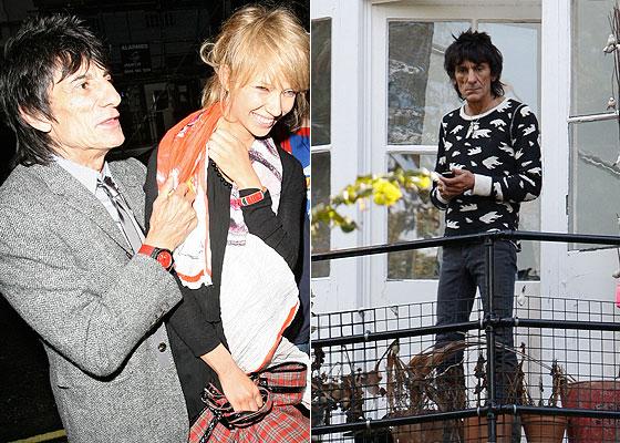 À esquerda, Ronnie Wood e a namorada, Ekaterina Ivanova, deixam restaurante (ago/2009) e, à direita, o Rolling Stone observa os paparazzi da varanda de sua mansão em Londres (11/9/09)